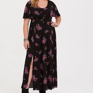 Torrid Black Floral Challis Maxi Dress